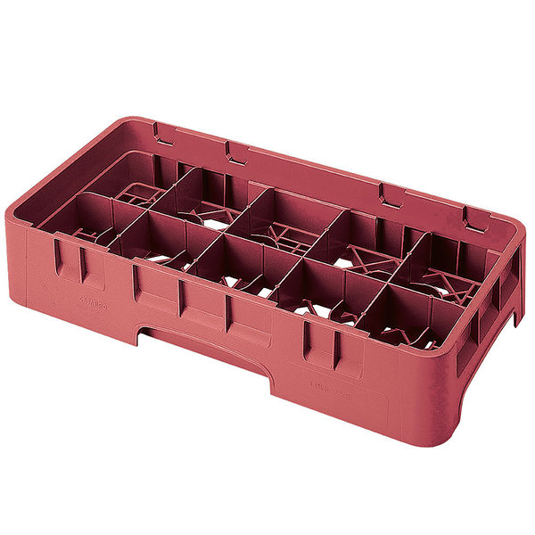 "Cambro 10HS1114416 Cranberry Camrack 10 Compartment 11 3/4"" Half Size Glass Rack"