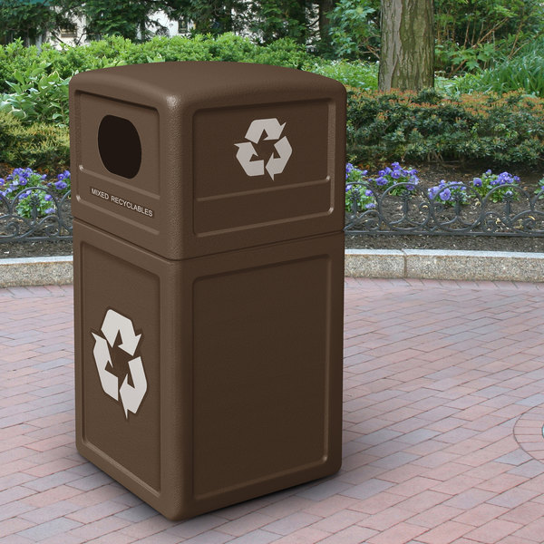 Commercial Zone 74613799 42 Gallon Brown Recycling Receptacle with Brown Decals