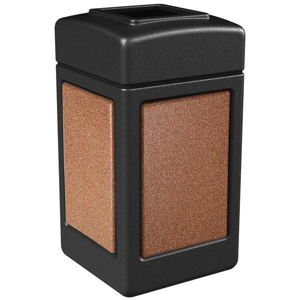 Commercial Zone 720314 StoneTec 42 Gallon Black Trash Receptacle with Sedona Panels