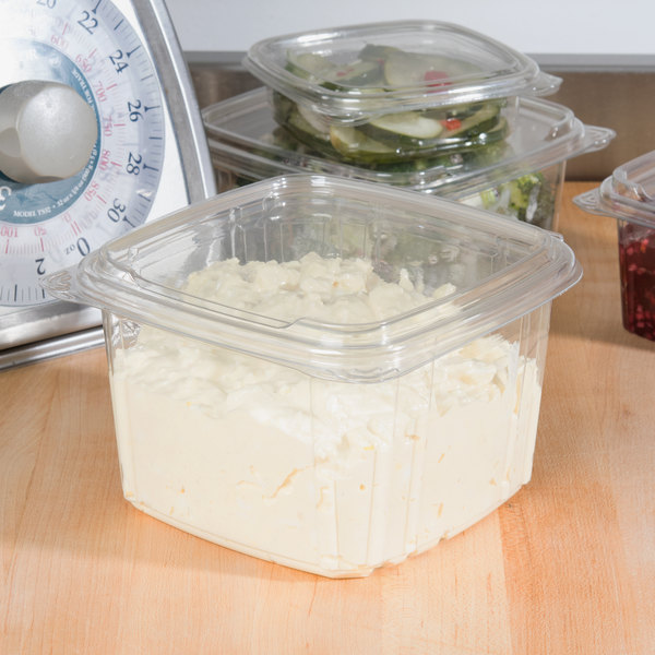 Genpak SD48 48 oz. Clear Smooth Wall Hinged Deli Container - 50/Pack