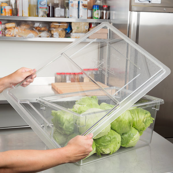 "Cambro 1826SCCW135 Clear Camwear Sliding Lid for Food Storage Box 26"" x 18"" Main Image 2"
