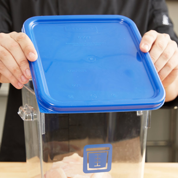 Rubbermaid 1980302 Color-Coded 2 4 6 and 8 Qt. Blue Square Food Storage Container Lid & Rubbermaid 1980302 Color-Coded 2 4 6 and 8 Qt. Blue Square Food ...