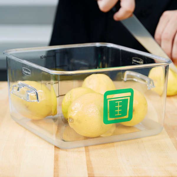 Rubbermaid 1980322 Color-Coded Clear 4 Qt. Square Food Storage Container with Green Logo