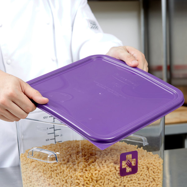Rubbermaid 1980311 Color-Coded 12, 18, and 22 Qt. Purple Square Food Storage Container Lid