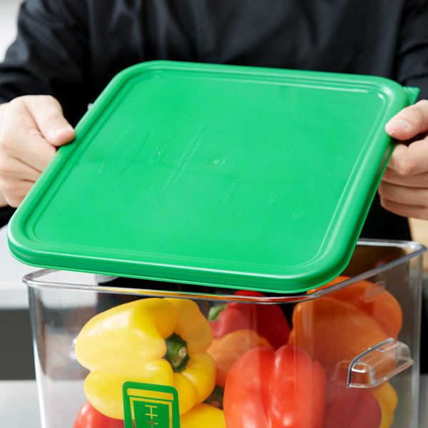 Rubbermaid 1980308 Color-Coded 12, 18, and 22 Qt. Green Square Food Storage Container Lid
