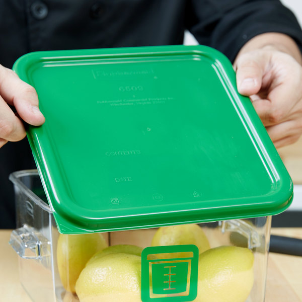 Rubbermaid 1980301 Color Coded 2 4 6 and 8 Qt Green Square Food