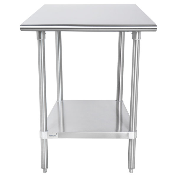 "Advance Tabco SAG-300 30"" x 30"" 16 Gauge Stainless Steel Commercial Work Table with Undershelf"