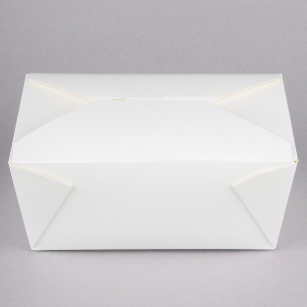 Choice 8 3/4 inch x 6 1/2 inch x 3 1/2 inch White Microwavable Folded Paper #4 Take-Out Container - 160/Case