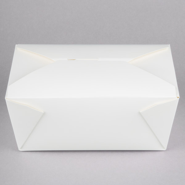 Choice 7 7/8 inch x 5 1/2 inch x 3 1/2 inch White Microwavable Folded Paper #4 Take-Out Container - 160/Case