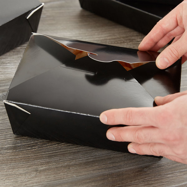 """Choice 8 1/2"""" x 6"""" x 2 1/2"""" Black Microwavable Folded Paper #3 Take-Out Container - 200/Case"""