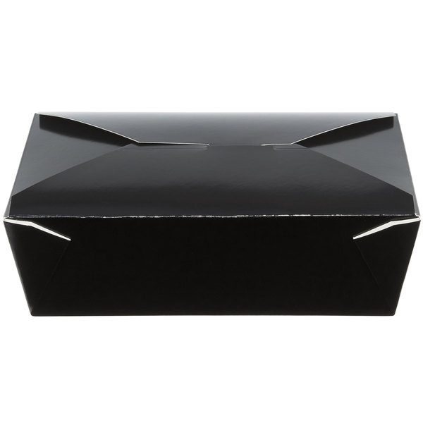 Choice 8 1/2 inch x 6 inch x 2 1/2 inch Black Microwavable Folded Paper #3 Take-Out Container - 200/Case