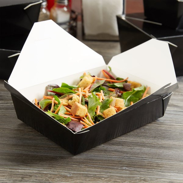 """Choice 8 1/2"""" x 6"""" x 2"""" Black Microwavable Folded Paper #2 Take-Out Container - 200/Case"""