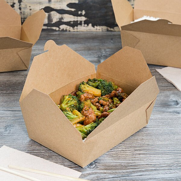 Food packaged in a kraft paper container