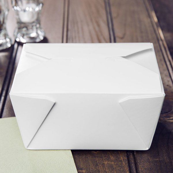 """Choice 5 1/8"""" x 3 1/2"""" x 2 1/2"""" White Microwavable Folded Paper #1 Take-Out Container - 450/Case Main Image 3"""