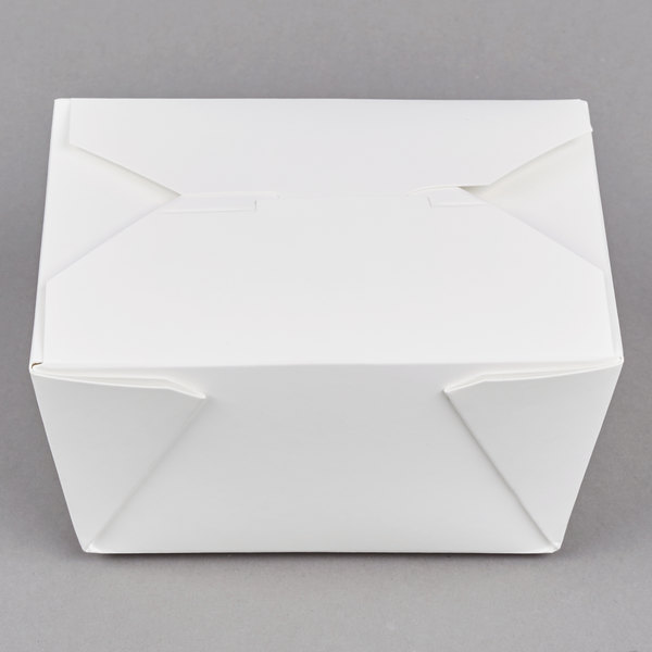 Choice 4 3/8 inch x 4 1/8 inch x 2 1/2 inch White Microwavable Folded Paper #1 Take-Out Container - 450/Case