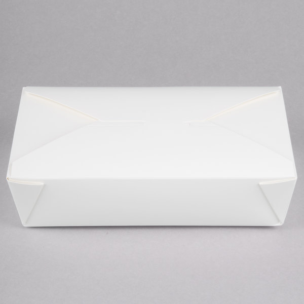 Choice 8 1/2 inch x 6 inch x 2 inch White Microwavable Folded Paper #2 Take-Out Container - 200/Case
