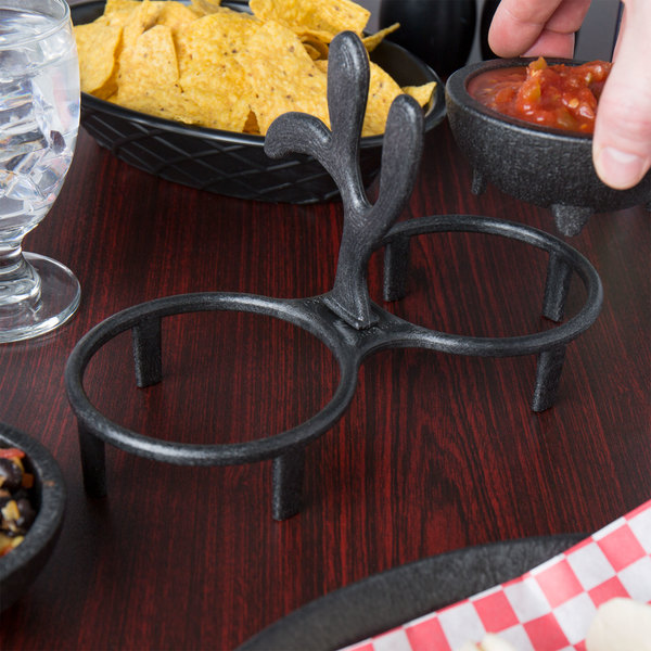HS Inc. HS1028 Charcoal Polyethylene Salsa Caddy for (2) HS Inc. HS1008 Molcajetes - 24/Case