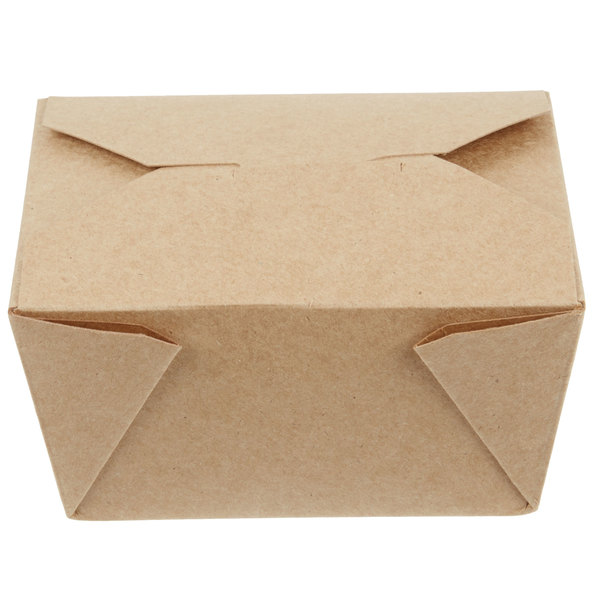 Choice 4 3/8 inch x 4 1/8 inch x 2 1/2 inch Kraft Microwavable Folded Paper #1 Take-Out Container - 450/Case