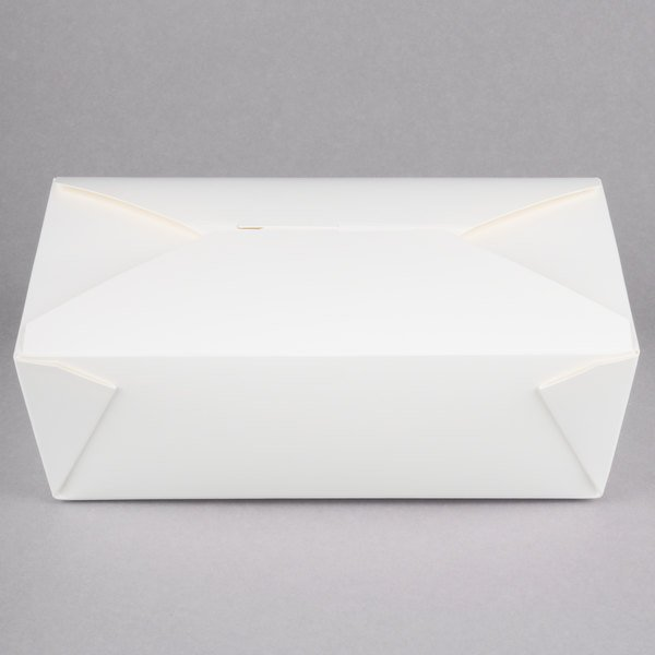 Choice 8 3/8 inch x 6 inch x 2 1/2 inch White Microwavable Folded Paper #3 Take-Out Container - 200/Case