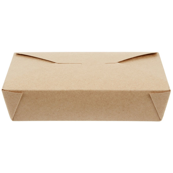 Choice 8 1/2 inch x 6 inch x 2 inch Kraft Microwavable Folded Paper #2 Take-Out Container - 200/Case