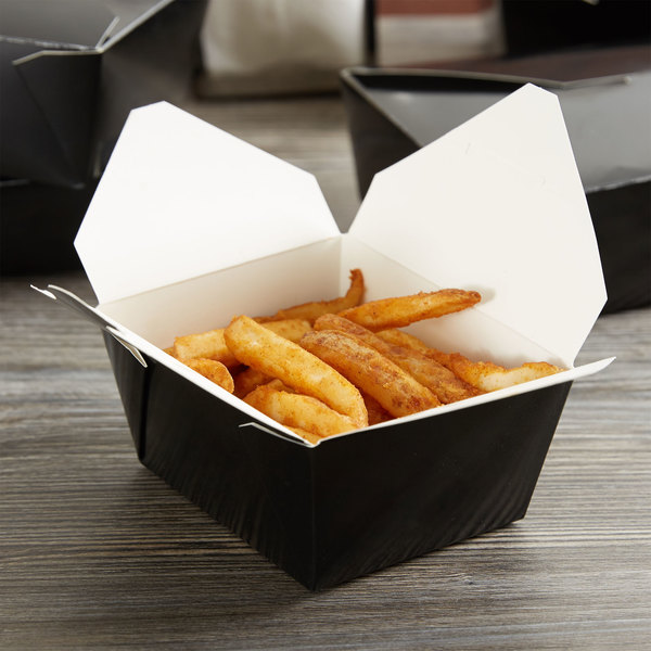 """Choice 5 1/8"""" x 3 1/2"""" x 2 1/2"""" Black Microwavable Folded Paper #1 Take-Out Container - 450/Case Main Image 3"""
