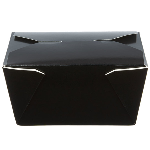 Choice 5 inch x 4 1/4 inch x 2 1/2 inch Black Microwavable Folded Paper #1 Take-Out Container  - 450/Case