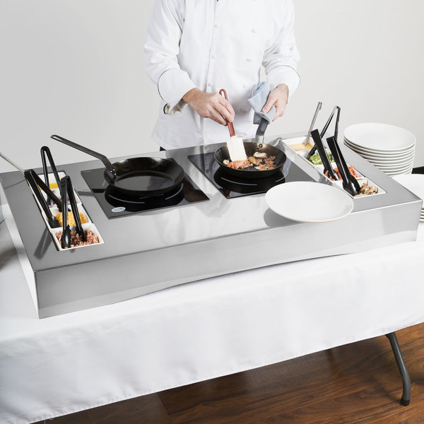 "Tablecraft CWACTION2BRA 47 3/8"" x 25 1/2"" x 5 1/2"" Brushed Aluminum Double Countertop Induction Station Kit"