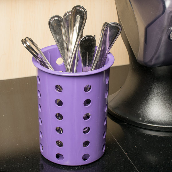 Steril-Sil RP-25-VIOLET Violet Plastic Straight Sided Flexible Silverware Cylinder