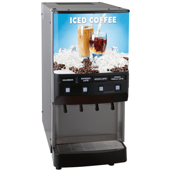 Bunn 37300.0016 JDF-4S 4 Flavor Cold Beverage Iced Coffee Dispenser with Cold Water Tap - 120V