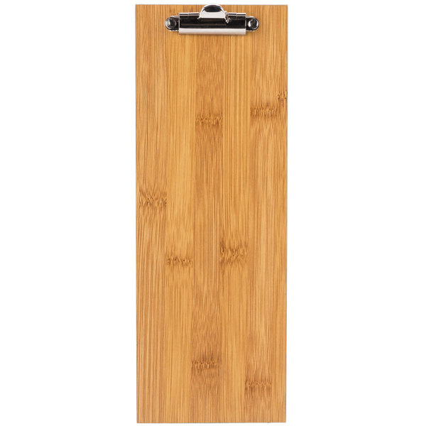 Choice 12 1/2 inch x 4 1/2 inch Natural Wood Menu Holder with Clip