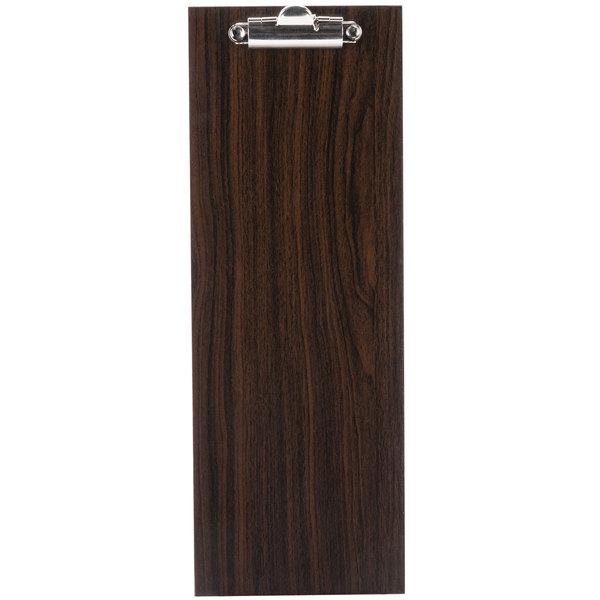 Choice 12 1/2 inch x 4 1/2 inch Dark Wood Menu Holder with Clip