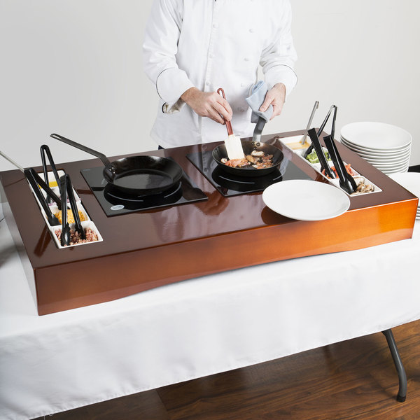 """Tablecraft CWACTION2TCP 47 3/8"""" x 25 1/2"""" x 5 1/2"""" Copper Brushed Aluminum Double Countertop Induction Station Kit"""