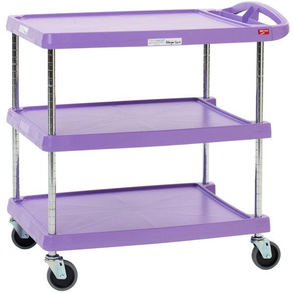 "Metro myCart MY2030-34AP Purple Utility Cart with Three Shelves and Chrome Posts - 24"" x 34"""