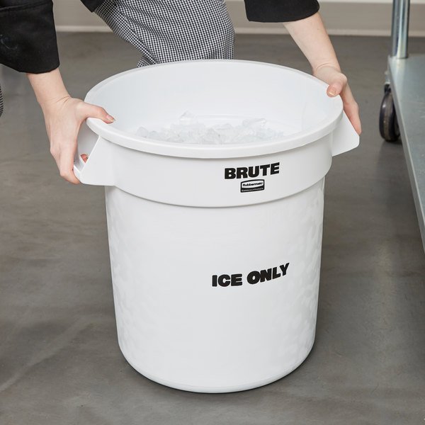 "Rubbermaid FG9F8600WHT ProServe 10 Gallon White ""ICE ONLY"" Brute Container"