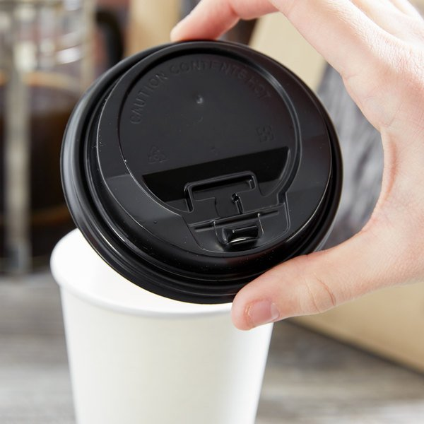Choice 8 oz. Squat - 20 oz. Black Hot Paper Cup Travel Lid with Hinged Tab - 100/Pack