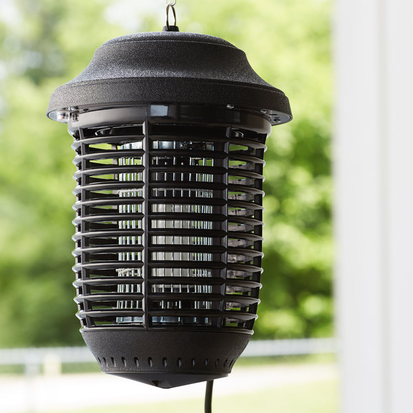 Zap N Trap outdoor bug zapper hanging on a porch