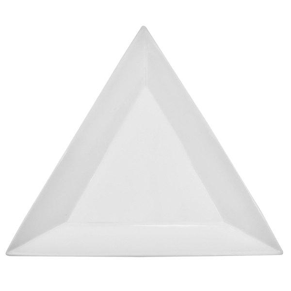 "CAC TUP-21 Triumph 12"" Bright White Triangular Porcelain Plate - 12/Case Main Image 1"