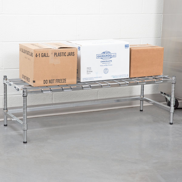 "Regency 18"" x 48"" Heavy-Duty Chrome Dunnage Rack with Mat Main Image 4"
