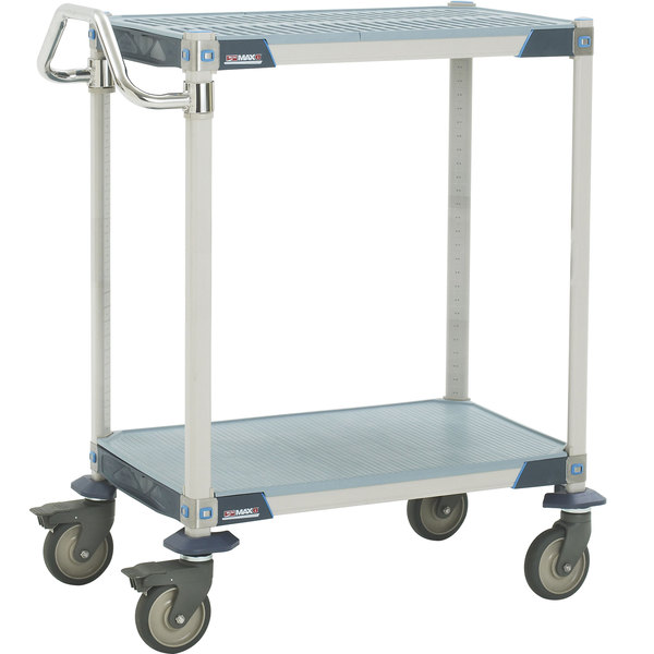 "Metro MXUC2436G-25 MetroMax i 2 Shelf Utility Cart with 5"" Polyurethane Casters 24"" x 36"" Main Image 1"