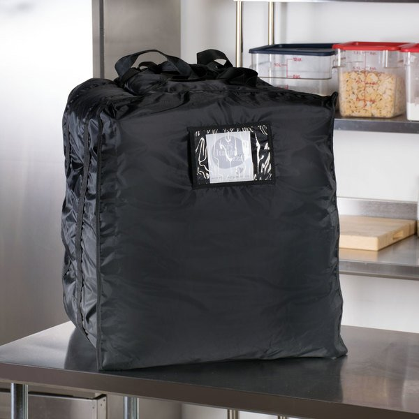 "ServIt Insulated Pizza Delivery Bag, Black Soft-Sided Heavy-Duty Nylon, 20"" x 20"" x 26"" - Holds (10-13) 16"" or 18"" Pizza Boxes Main Image 5"