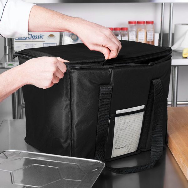 """Choice Insulated Delivery Bag, Soft-Sided Sandwich / Take-Out Hot / Cold Delivery Bag, Black Nylon, 15"""" x 12"""" x 12"""" -"""