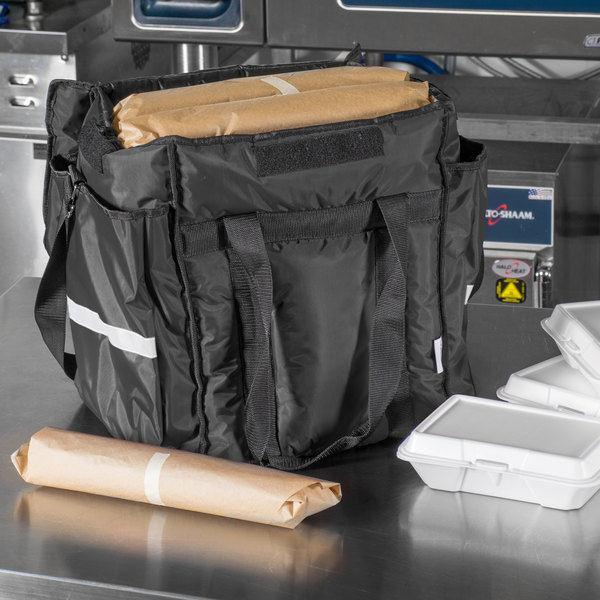 """ServIt Insulated Food Delivery Bag, Black Soft-Sided Heavy-Duty Nylon, 13"""" x 13"""" x 15 1/2"""" - Holds (6) 2 1/2"""" Deep 1/2 Size Pans or (18) 2 Qt. Container"""