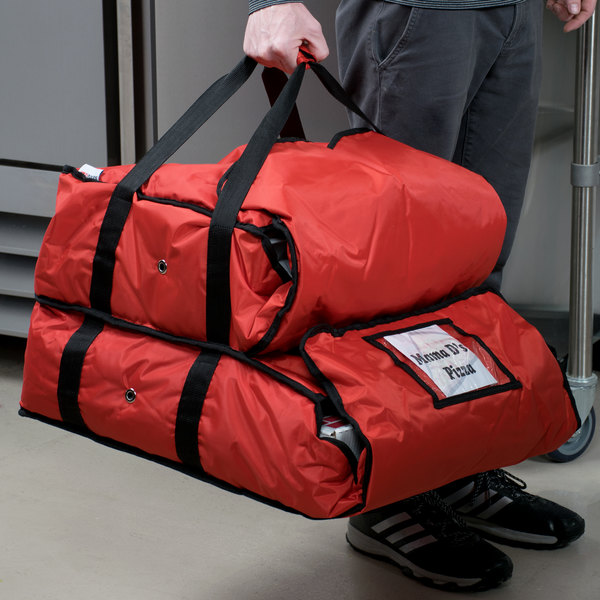 """ServIt Soft-Sided Heavy-Duty Insulated Pizza Delivery Bag, Red Nylon - Dual Compartment, 20"""" x 20"""" x 14"""""""