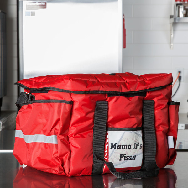 """ServIt Soft-Sided Heavy-Duty Insulated Sandwich / Take-Out Delivery Bag, Red Nylon , 15"""" x 12"""" x 12"""" - Holds Sandwiches and Containers and (4) 2 Liter Bottles"""