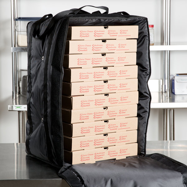 "ServIt Insulated Pizza Delivery Bag, Black Soft-Sided Heavy-Duty Nylon, 16"" x 16"" x 26"" - Holds (10-13) 12"" or 14"" Pizza Boxes Main Image 5"