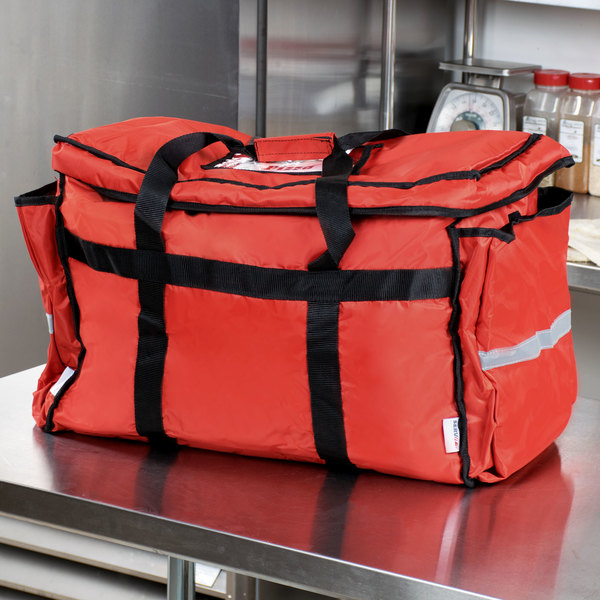 """ServIt Insulated Food Delivery Bag, Soft-Sided Heavy-Duty / Pan Carrier, Red Nylon, 22"""" x 13"""" x 16"""" - Holds Up To (6) 2 1/2"""" or (5) 3"""" Deep Full Size Food Pans"""