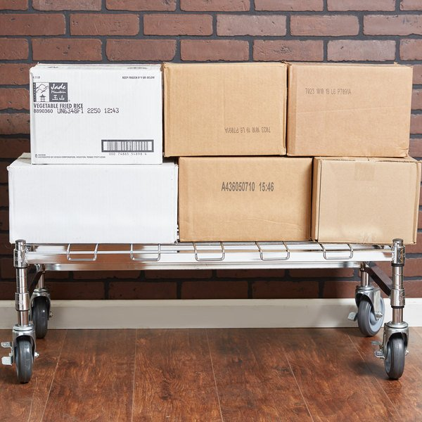 """Regency 18"""" x 36"""" Heavy-Duty Mobile Chrome Dunnage Rack with Mat"""