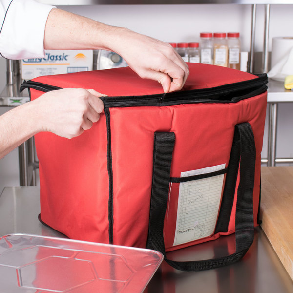 "Choice Insulated Delivery Bag, Soft-Sided Sandwich / Take-Out Hot / Cold Delivery Bag, Red Nylon, 15"" x 12"" x 12"""
