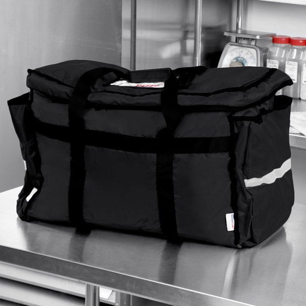 "ServIt Insulated Food Delivery Bag, Soft-Sided Heavy-Duty / Pan Carrier, Black Nylon, 22"" x 13"" x 16"" - Holds Up To (6) 2 1/2"" or (5) 3"" Deep Full Size Food Pans"