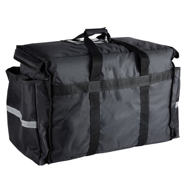 b3baf7a8335f ServIt Heavy-Duty Insulated Black Nylon Soft-Sided Food Delivery Bag / Pan  Carrier